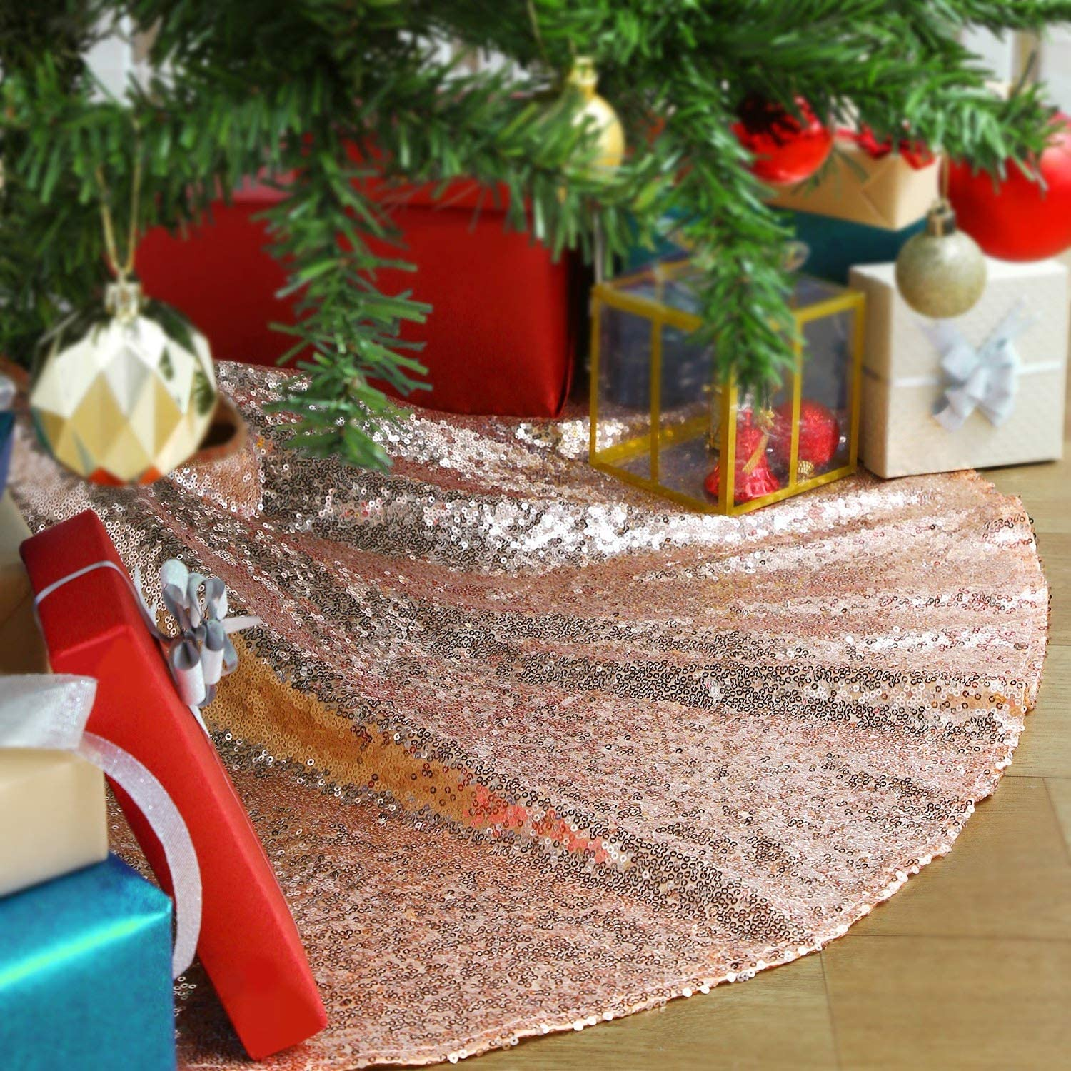 QueenDream Merry Christmas Tree Skirt Rose Gold Sequin Tree Skirt for Xmas Holiday Party Supplies Large Tree Mat Decor Ornaments 36 Inch