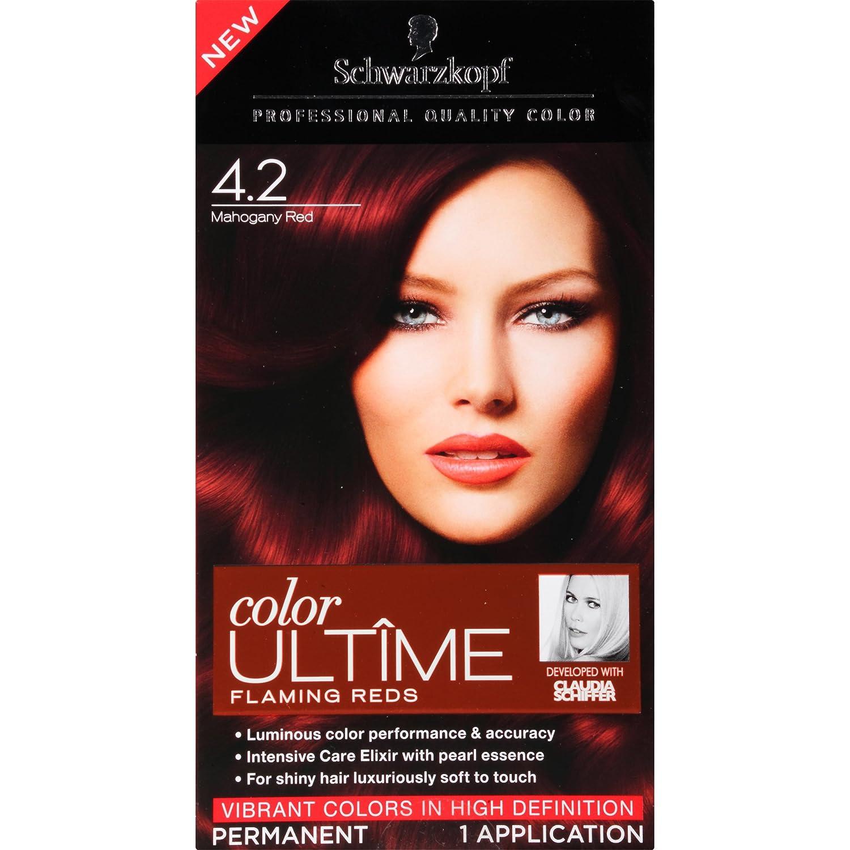 Amazon.com : Schwarzkopf Ultime Hair Color Cream, 4.2 Mahogany Red ...