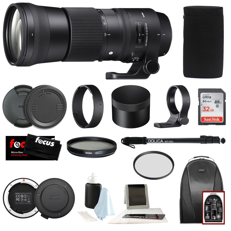 Sigma 150 – 600 mm 5 – 6.3 DG OS HSM Contemporaryレンズfor Canon DSLRカメラ745101 W/USB Dock + 32 GB SDカードHolidayバンドル   B074TQFSQT