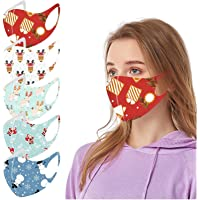 5PC Face_Mask for Adults Reusable Washable Face Bandanas with Elastic Earloops for Women Men Christmas Daily Use