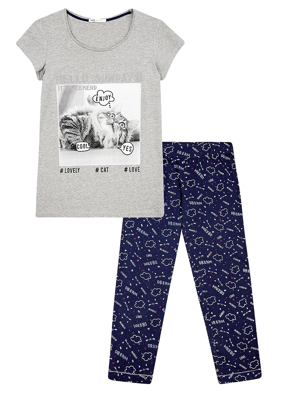 oodji Ultra Mujer Pijama de Algodón con Pantalones Piratas Estampados, Gris, ES 42 / L: Amazon.es: Ropa y accesorios