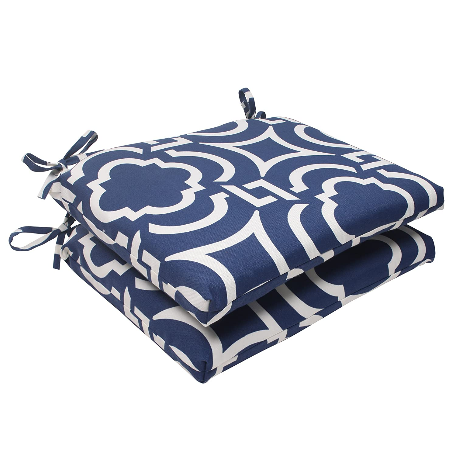 Pillow Perfect Indoor/Outdoor Carmody Squared Seat Cushion, Navy, Set of 2