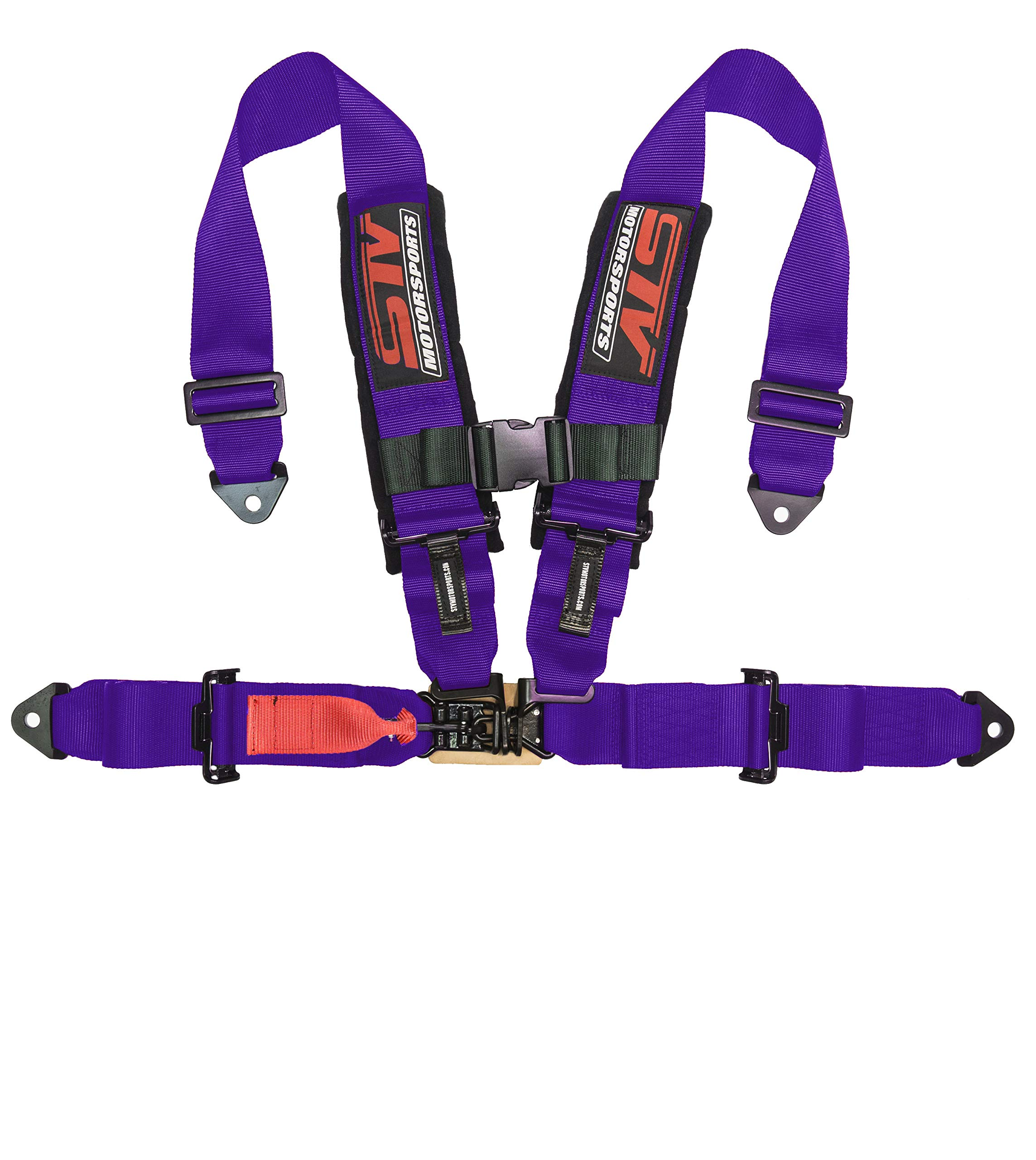 """STVMotorsports 4 Point Harness - 2"""" Pads - Universal V-Type - Bolt in - Latch and Link Quick Release - for Off-Road, UTV, Trucks, Side by Side (Single) (Purple)"""