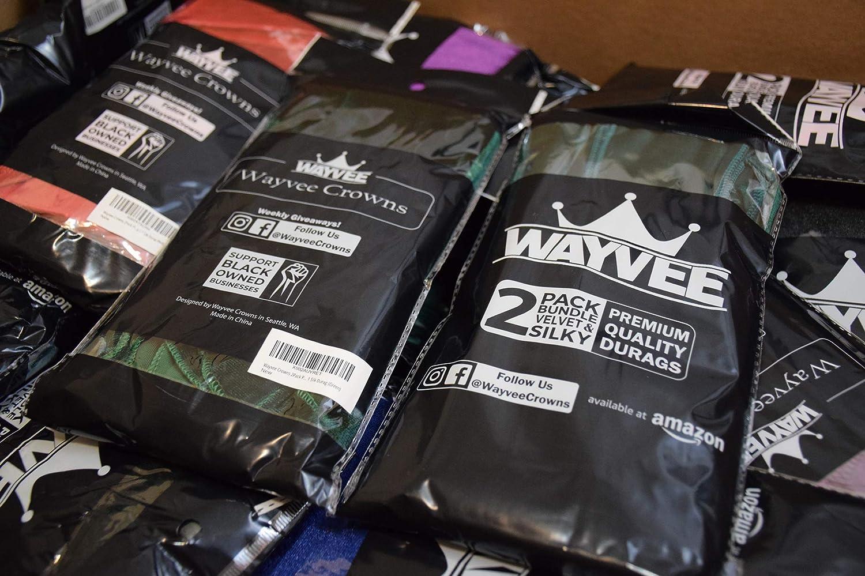 1 Silk Durag 1 Velvet Durag Wayvee Crowns 2Pack Premium Durags for Men Waves