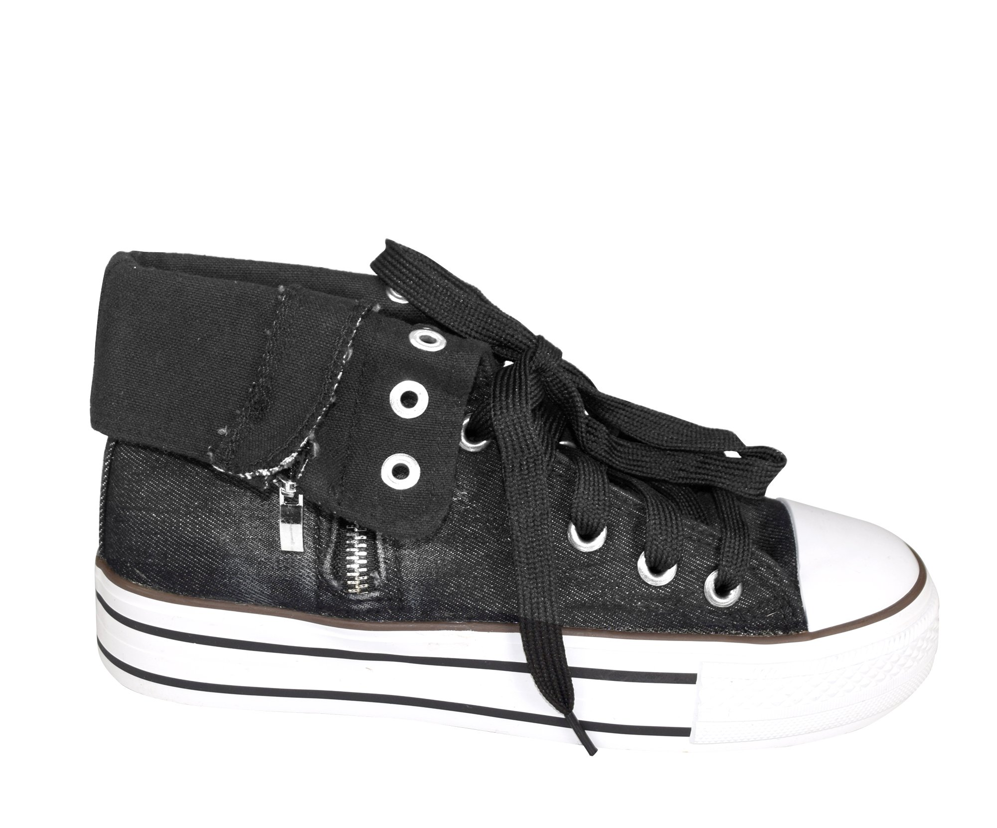 Peach Couture Taylor Fold Over Side Zipper Canvas High Top Sneaker Shoes Black, 10