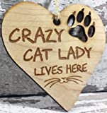 Engraved Wooden Cat Lover Hanging Plaque Decoration Gift Idea For Crazy Cat Lady Cat Lovers Friends Couple Men Women Her Him Family Boyfriend Xmas Gift Idea