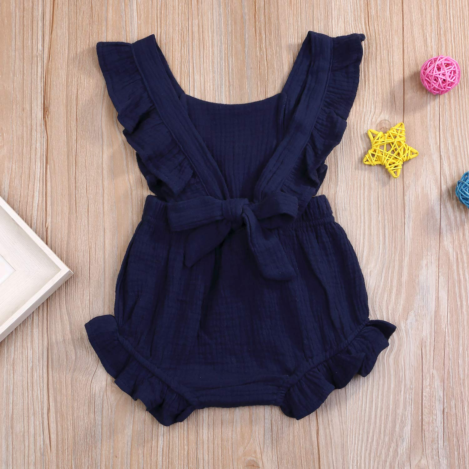 1050bda945e4 Amazon.com  YOUNGER TREE Toddler Baby Girl Ruffled Collar Sleeveless Romper  Jumpsuit Clothes  Clothing