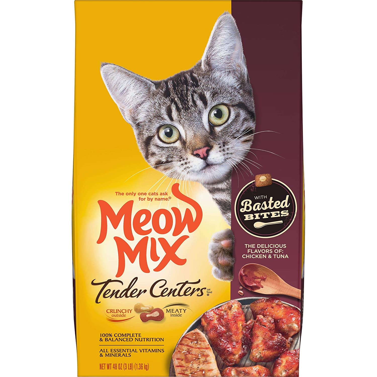 Meow Mix Tender Centers Basted Bites Dry Cat Food, Chicken & Tuna Flavor, 3 Pounds