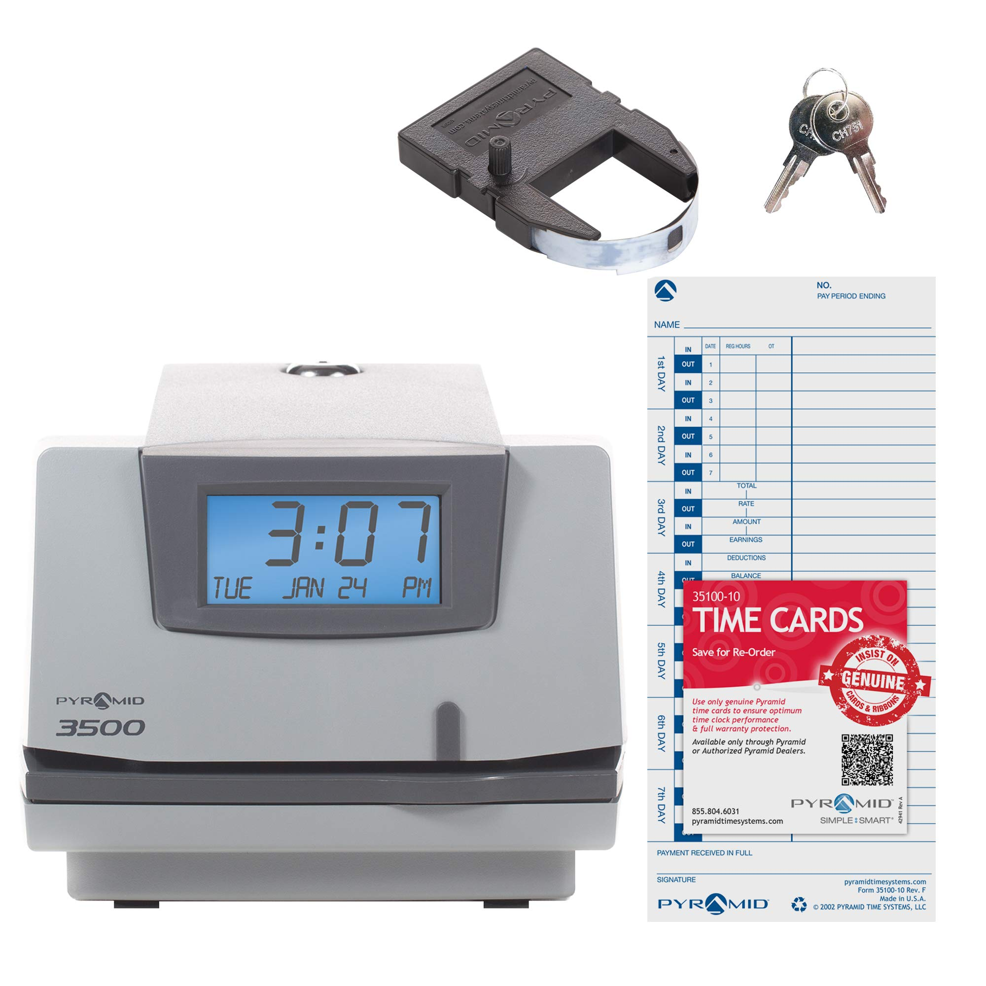 Pyramid 3500 Multi-Purpose Time Clock and Document Stamp - Made in the USA by Pyramid Time Systems