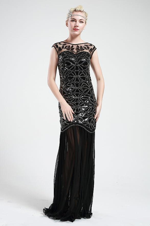 Amazon.com: BABEYOND 1920s Flapper Beaded Embellished Dress Long 20s ...
