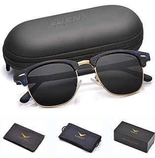 f1881b03f06c LUENX Men Semi Rimless Polarized Sunglasses Women UV 400 Protection Black  Lens Tortoise Blue Retro Frame
