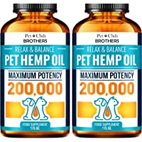 Petclubbrothers B Hemp Oil for Dogs and Cats - Hemp Oil Drops 200,000 - Made in USA - Rich in Omega 3-6-9 - Hip & Joint…