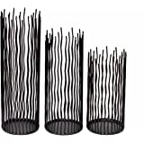 GiveU Metal Willow Led Candle holder Set of 3, Black, 8/10/12 inch Height, Functional Table Decoration