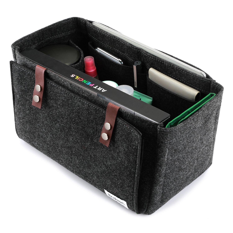 Bridawn Handbag Insert Organizer Felt Purse Organizer for Tote Handbag with Flapper