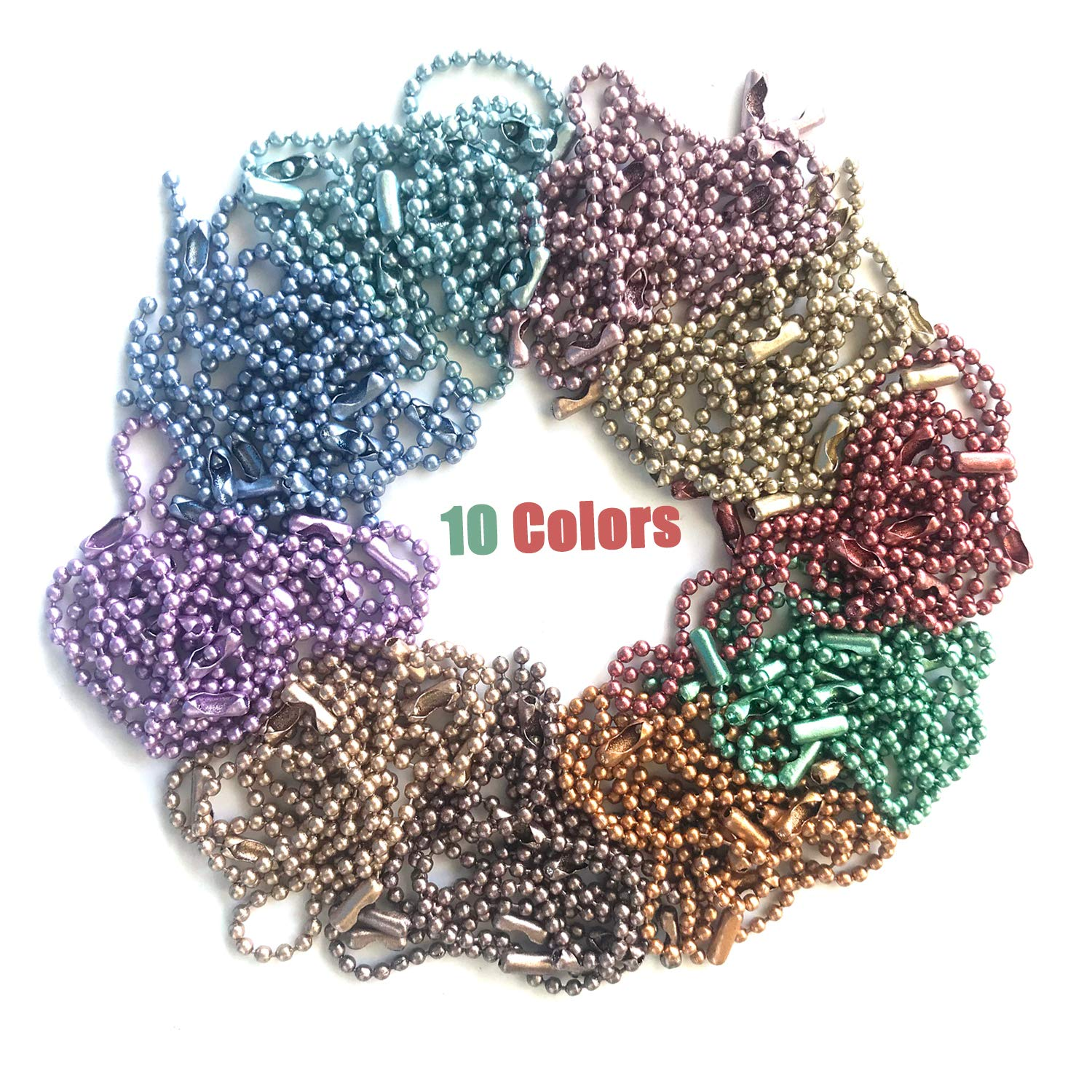 Rojwei 100pcs Mix Colors Metal Ball Chain Keychains,Christmas DIY Tag ID Chain 10cm Long, 2.4 mm Diameter Bead Size Complete with a Bead Chain Connector.