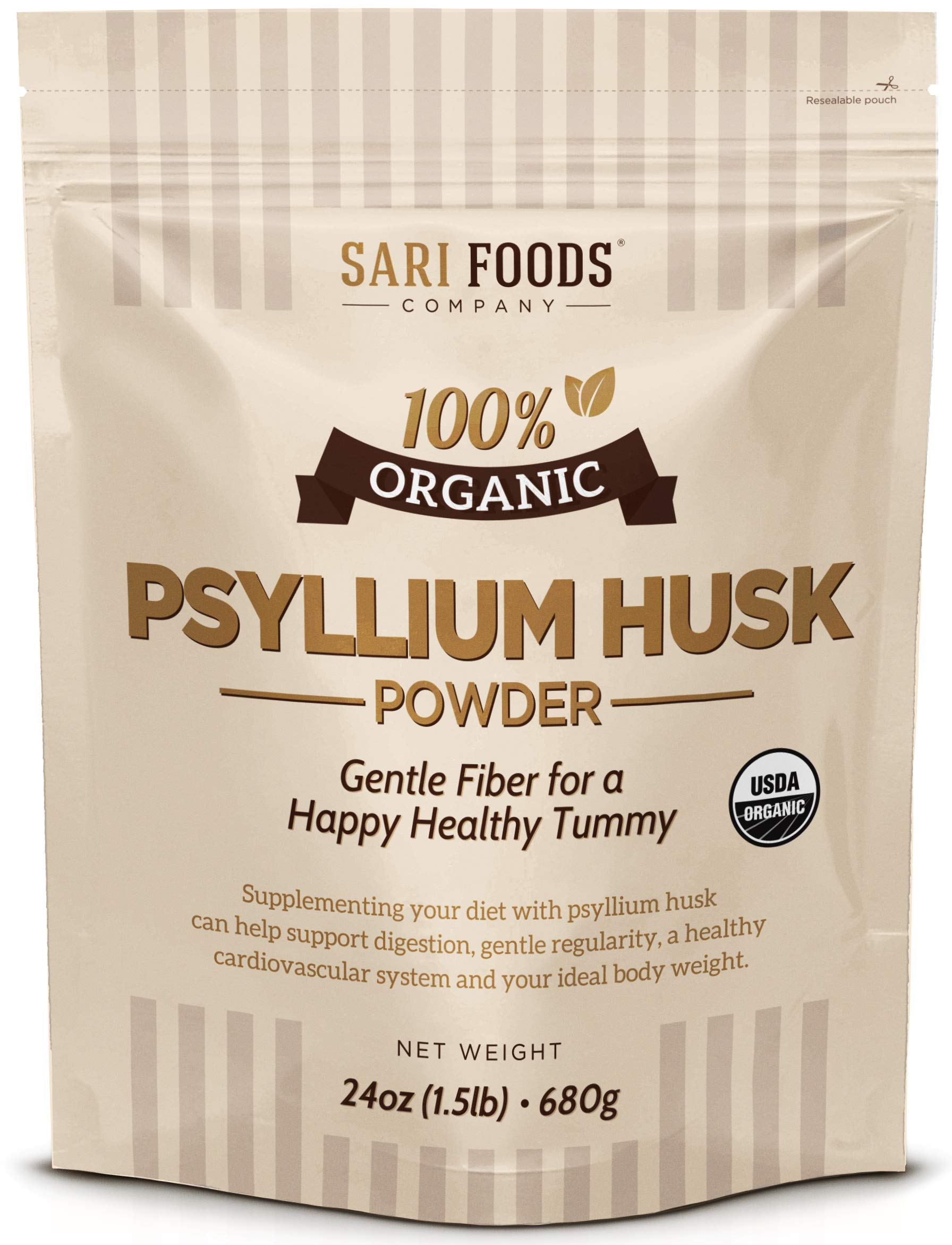 Pure Organic Psyllium Husk Powder (24oz): 100% Natural, Whole Food, Plant Based Fiber superfood: Supports Digestion, Gentle Regularity, a Healthy Heart, and Your Ideal Body Weight by Sari Foods Co