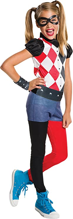 Age 8-10 years HEIGHT 4' Kids DC Comics Outfit Harley Quinn Costume Large