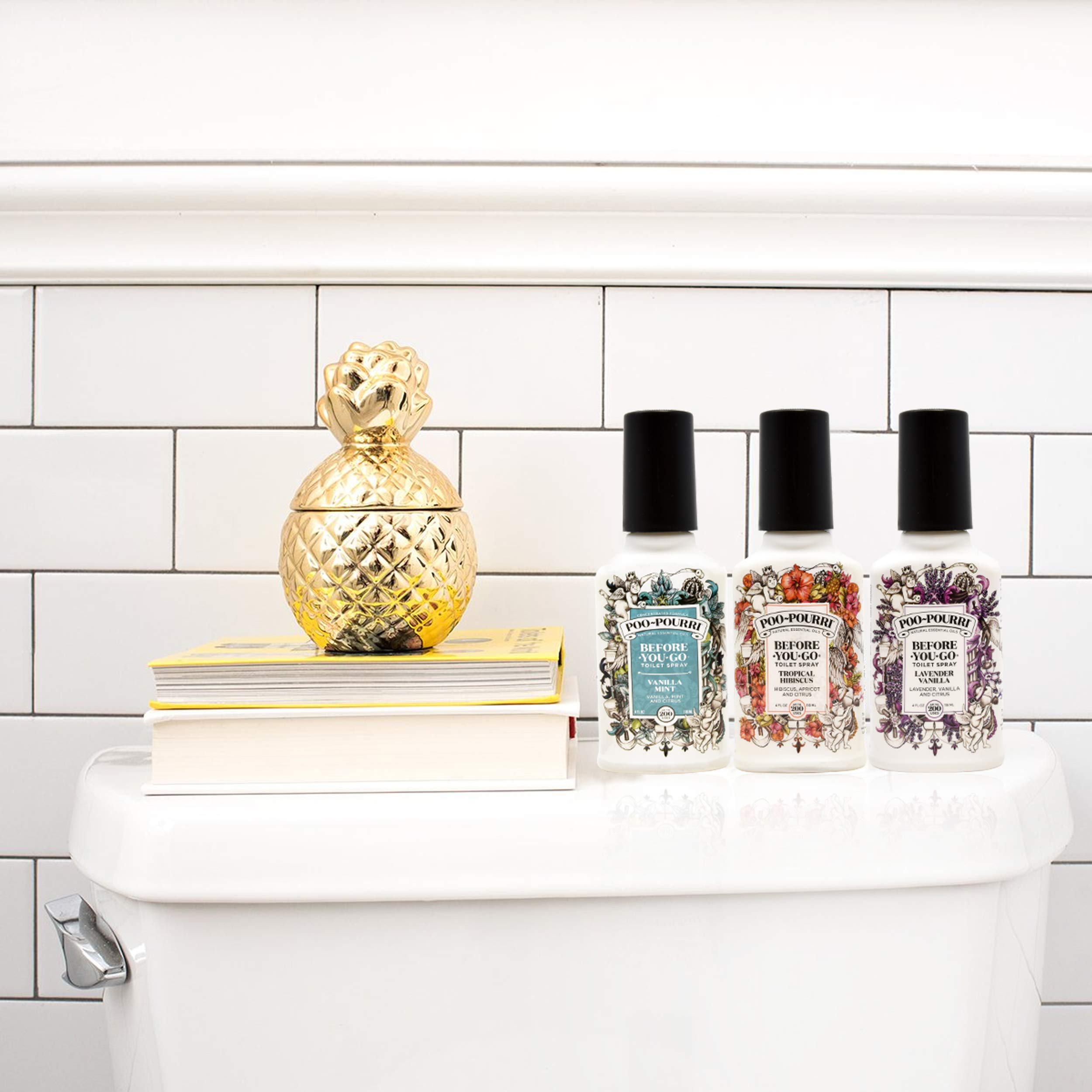 Poo-Pourri Lavender Vanilla, Tropical Hibiscus and Vanilla Mint 4-Ounce Set by Poo-Pourri (Image #2)