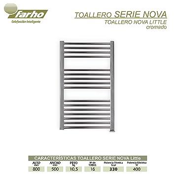 farho - Radiador Toallero Eléctrico Cromado Nova Little, con 400W (Medidas : 800 x 500 mm) Toalleros Eléctricos bajo Consumo con Crono-Termostato Digital ...