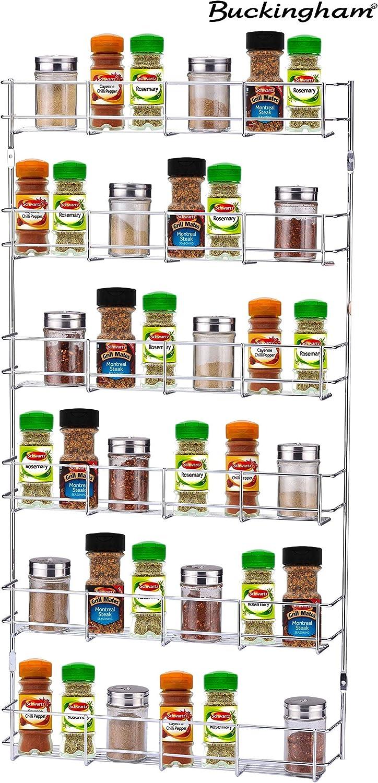 Cromo Buckingham 3/Pisos de Montaje en Puerta para Especias Jar Soporte para Armario de Cocina o Pared