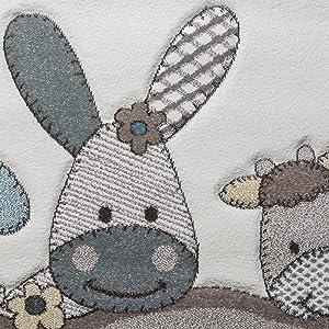 Paco Home Tapis pour Enfants Chambre D'Enfant Contours Découpés Ferme Animaux Beige Crème Couleurs Pastel, Dimension:80x150 cm