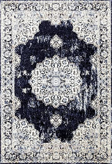 Persian-Rugs 4678 Distressed Navy 8 x 10 Area Rug Carpet Large New