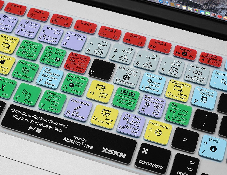 XSKN Ableton Live - Cubierta adhesiva para teclado hecha de silicona con atajos para teclado de idioma inglés; película, piel protectora con teclas de ...