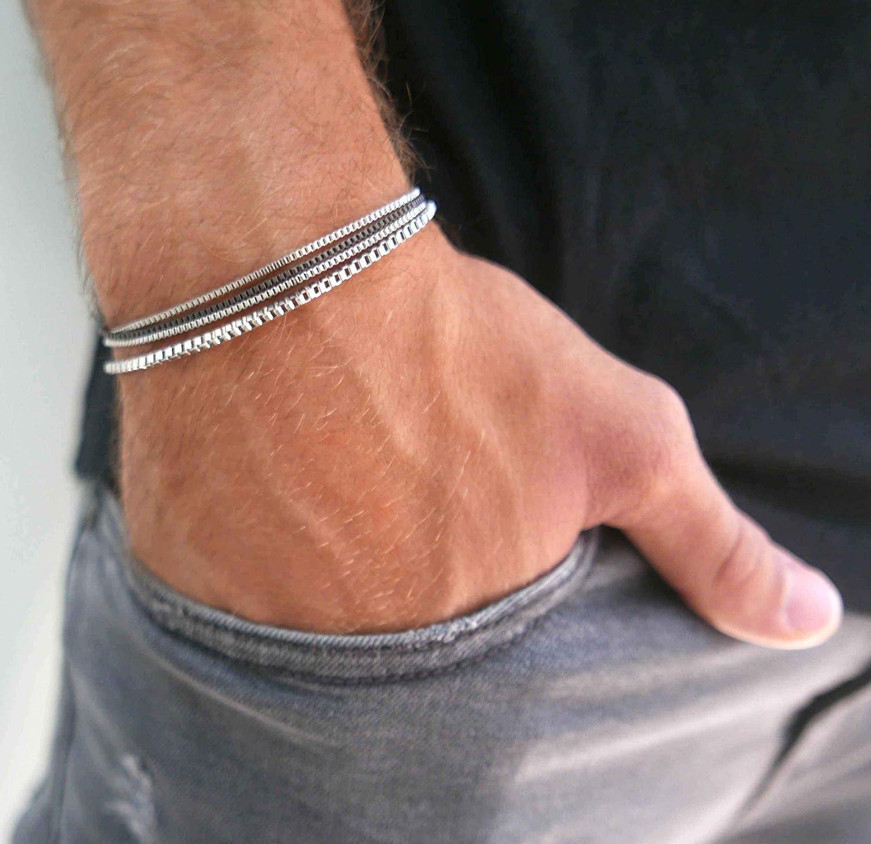 """Handmade Mens Silver Bracelet - Men Chain Bracelet Made Of Stainless Steel - Silver Bracelet For Men - Fits 7"""" - 8.6"""" Wrist Size"""