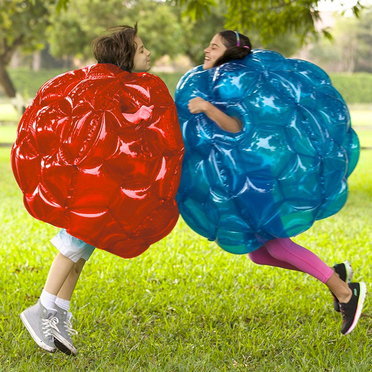 Inflatable 36'' Wearable Buddy Bumper Zorb Balls Heavy Duty Durable PVC Viny Bubble Soccer Outdoor Game (2-Pack,Blue&Red)) ... by Holleyweb (Image #3)