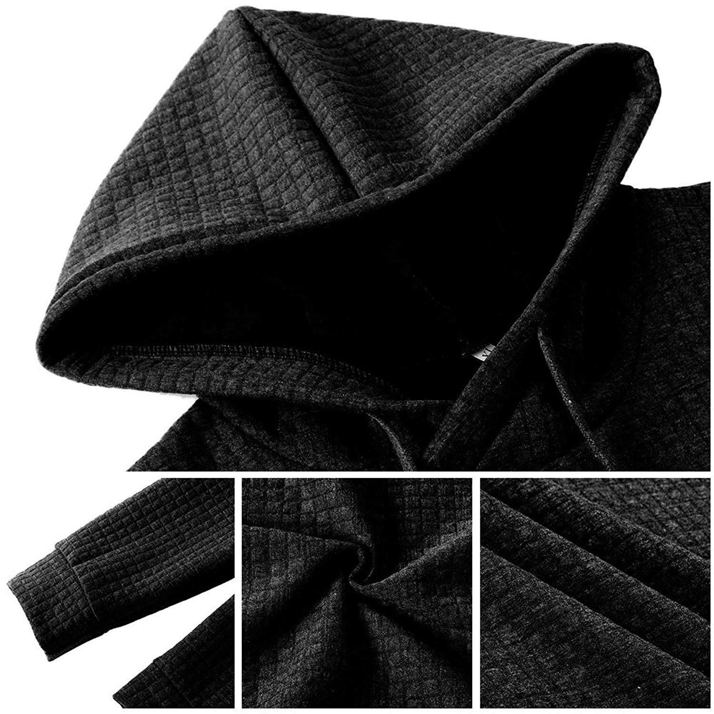 Poplover Mens Solid Casual Sweatshirts Long Sleeve Pullover Hoodies Black Large