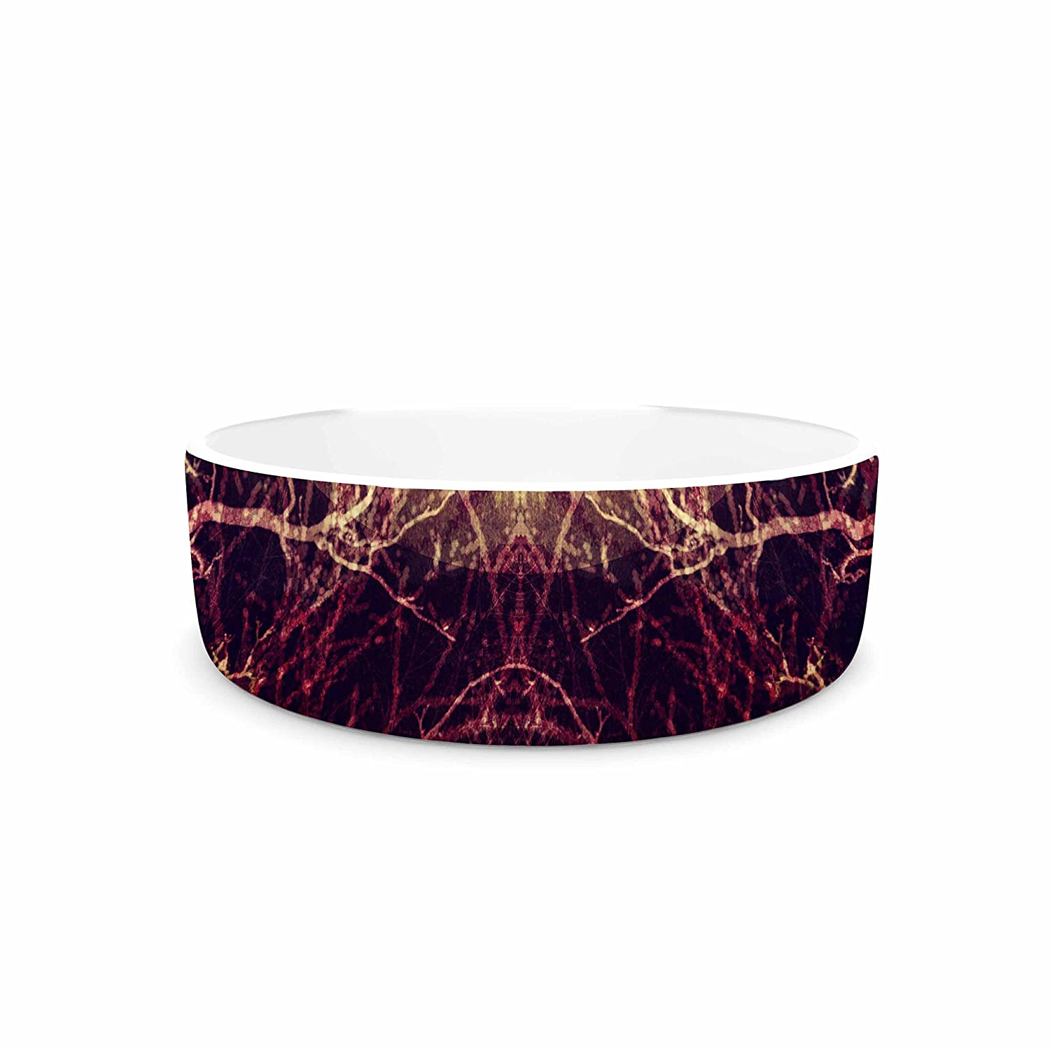 KESS InHouse Pia Schneider Burning Roots IV  Maroon Celestial Pet Bowl, 7