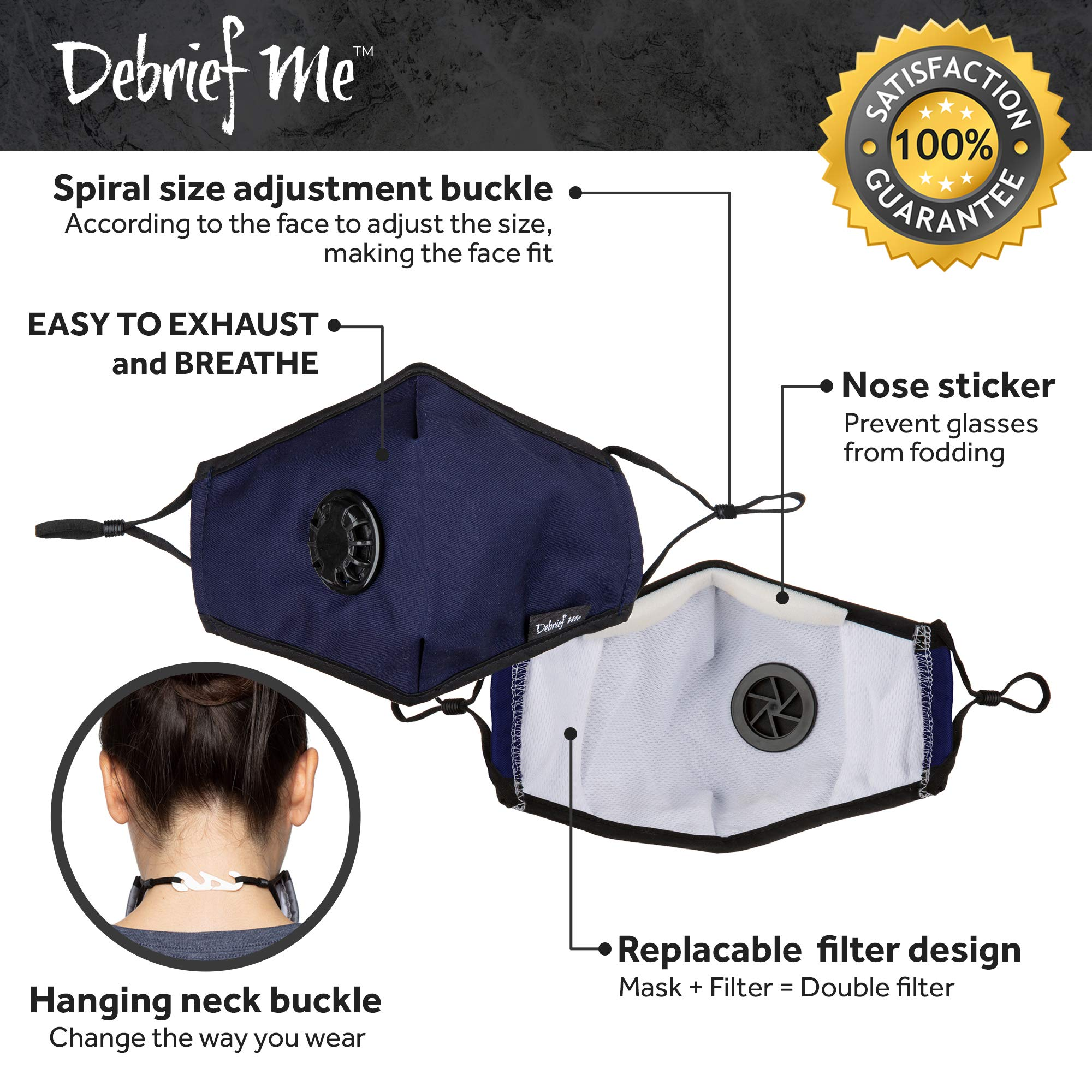 Debrief Me Military Grade N99 (4 Masks) Carbon Activated Anti Dust Face Mouth Cover Mask Respirator-Dustproof Anti-bacterial Washable -Reusable Respirator Comfy-Cotton(N99-4Color) by Debrief Me (Image #8)