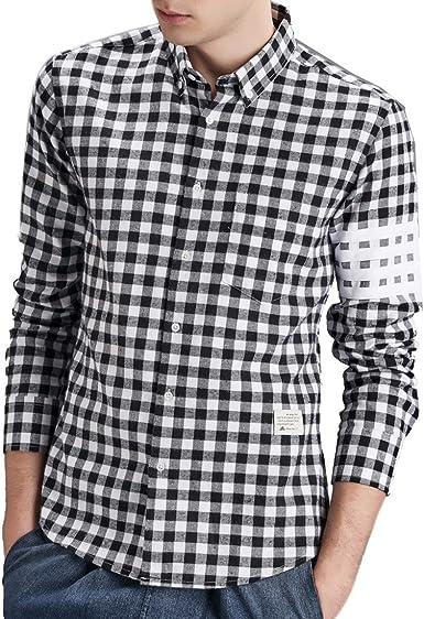 QIYUN.Z Los Hombres De Manga Larga Solapa del Botón De La Moda Escocesa Ocasional Camisas: Amazon.es: Ropa y accesorios