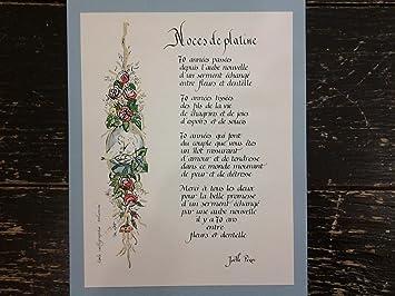 Atelier De Calligraphie Guérande Poema Bodas De Platino 70