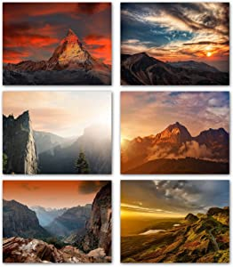 "Mountain Sunsets Blank Note Cards - Greeting Cards with Envelopes - 6 Unique Designs - 5.5""x4.25"" (12 Pack)"