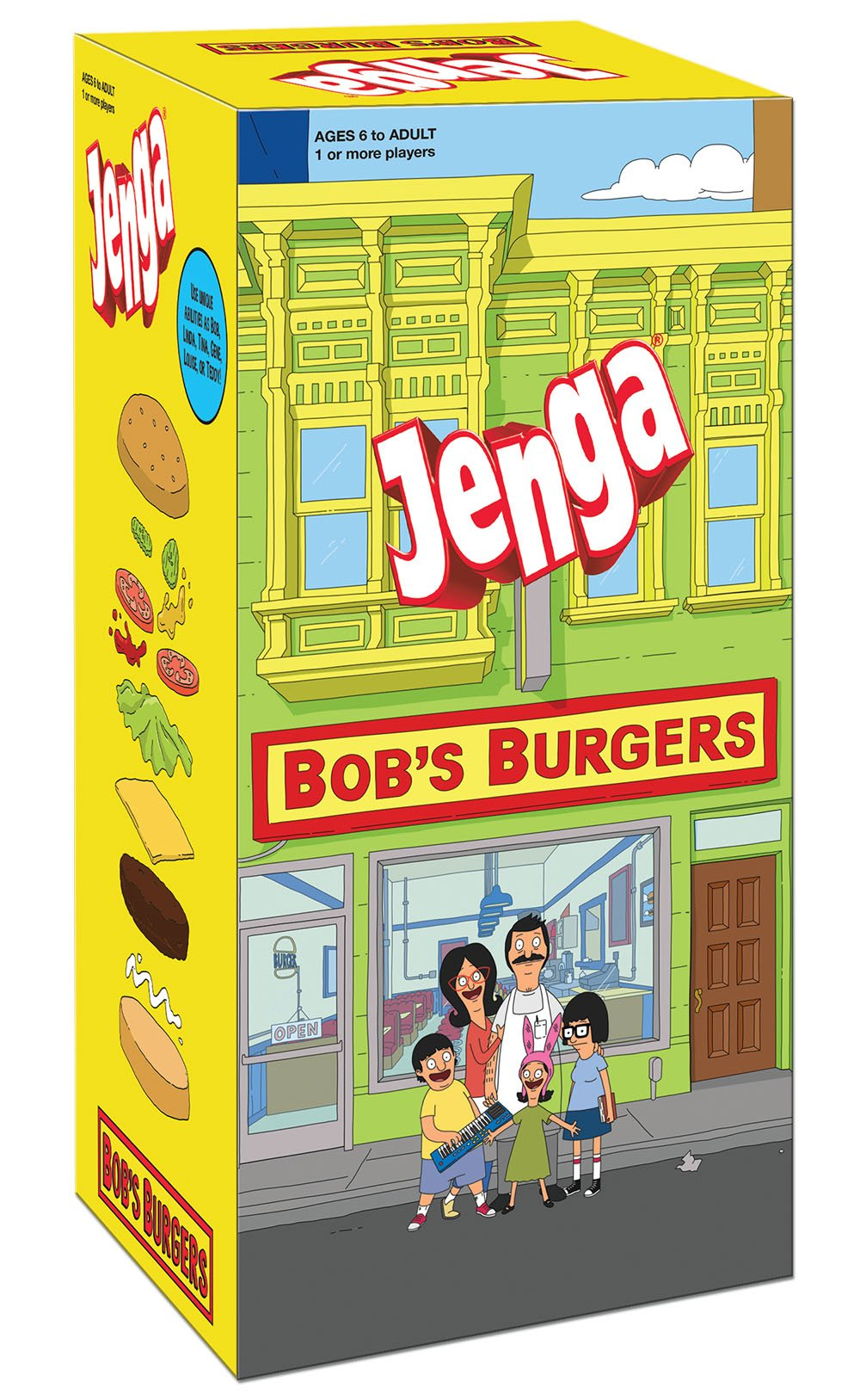 USAOPOLY Bob's Burgers Edition Jenga Game|Move Your Characters Up The Blocks to Score Points|Play As 1 of 6 of Your Favorite Characters|Custom Blocks are Traditional Burger Ingredients by USAOPOLY