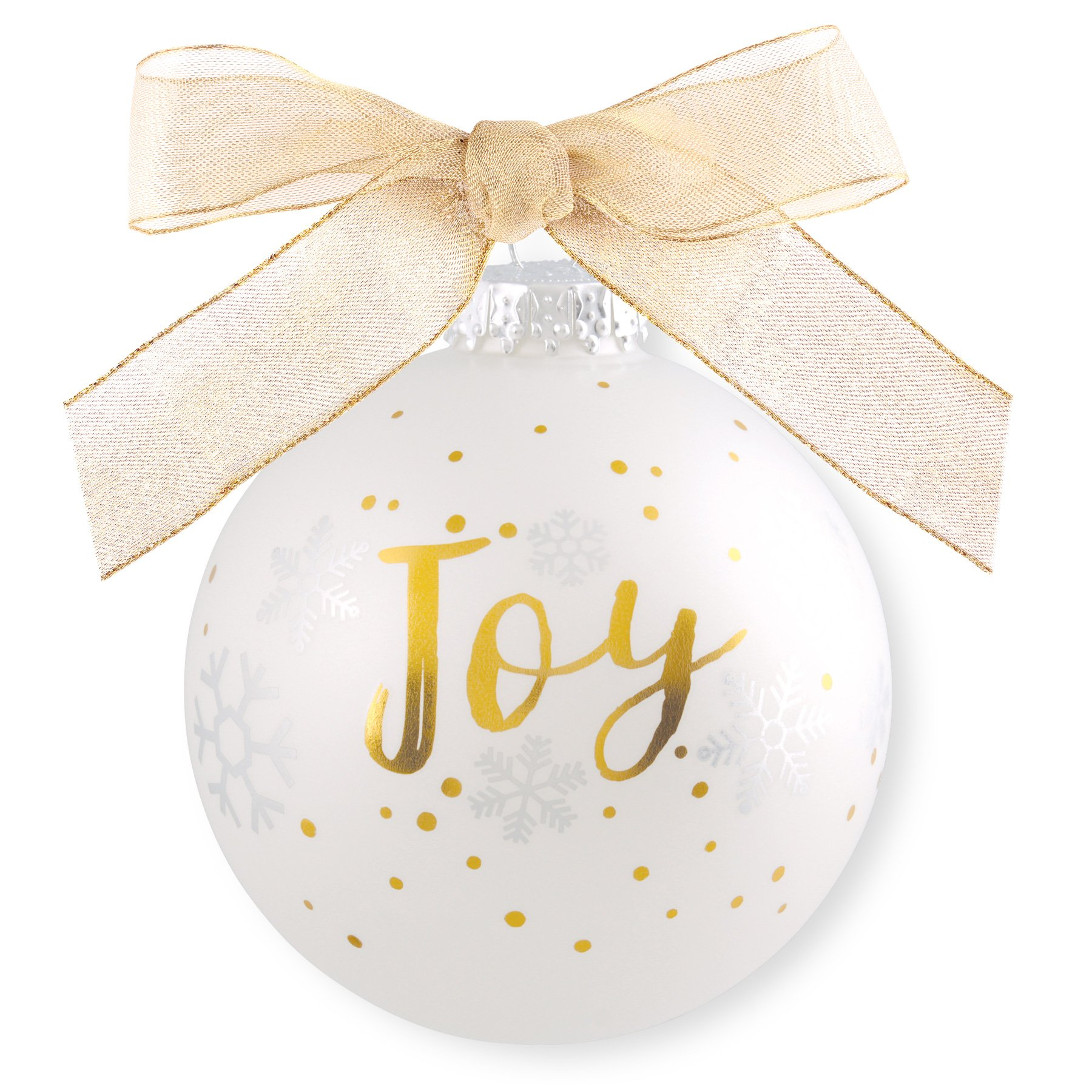 Lighthouse Christian Products White & Gold Glass Joy Christmas Ornament