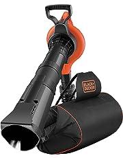 Black+Decker Elektro Laubsauger/-bläser mit Häcksler (3000W, 72l Fangsack-Rucksack, Laubrechen und Tragegurt – Hohe Blasgeschwindigkeit und Saugleistung) GW3031BP