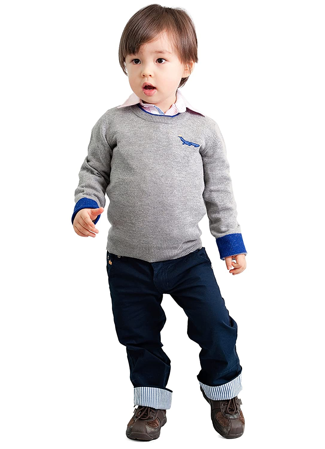 Dakomoda Toddler Boys Cashmere Gray Wool Blend Crew Neck Sweater with Blue Contrasts