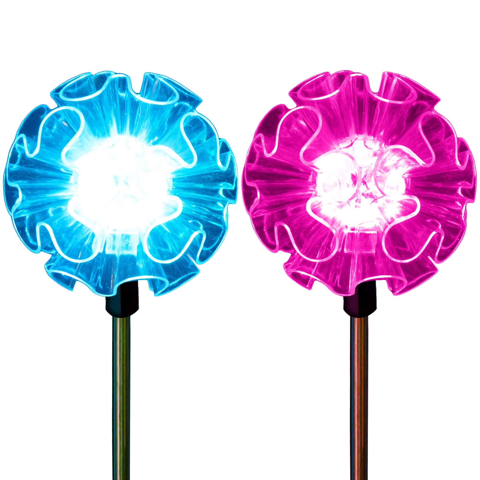 Flower Lights Solar Powered Garden Stakes Color Changing Hydrangea Outdoor Path Landscape Decoration Walkway Pathway Decor in-Ground Fixtures (Set of 2) by SolarDuke
