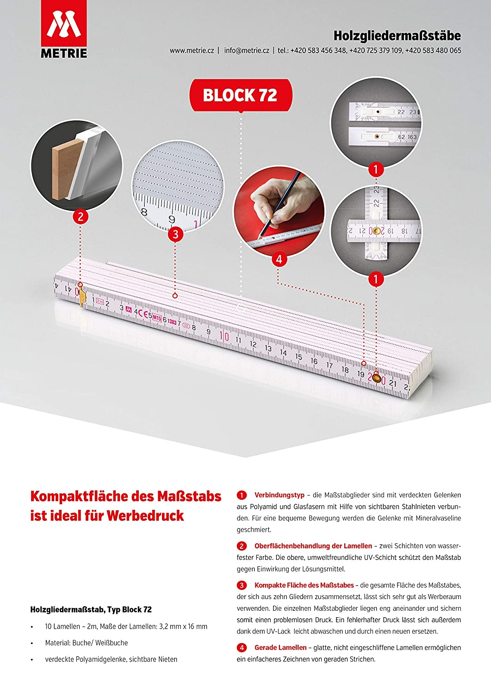 Hergestellt in der EU Wei/ß Metrie BLOCK52 Holz Zollstock // Zollst/öcke 1x St/ück|2m langer Gliederma/ßstab Meterstab mit Duplex-Teilung