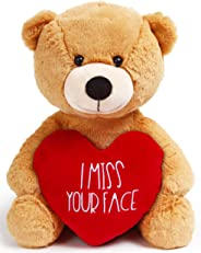 I Miss You Gifts Large 12 inch Teddy Bear I Miss Your Face- Cute Long Distance Relationships Gift, Friend, Couples, Valentine