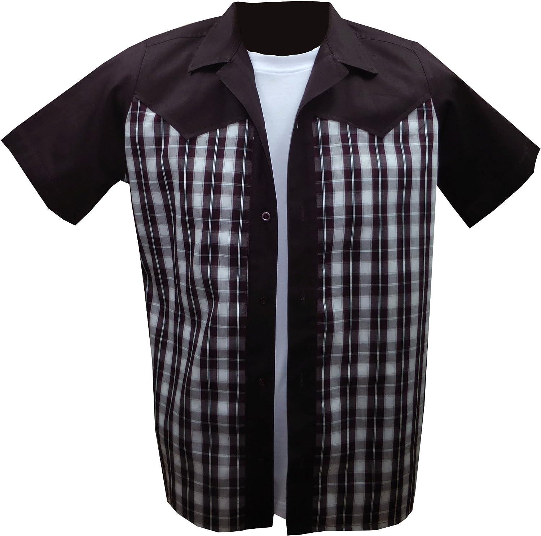 Rockabilly Fashions - Camisa Casual - Cuadrados - para Hombre Plum, White, Black Small: Amazon.es: Ropa y accesorios