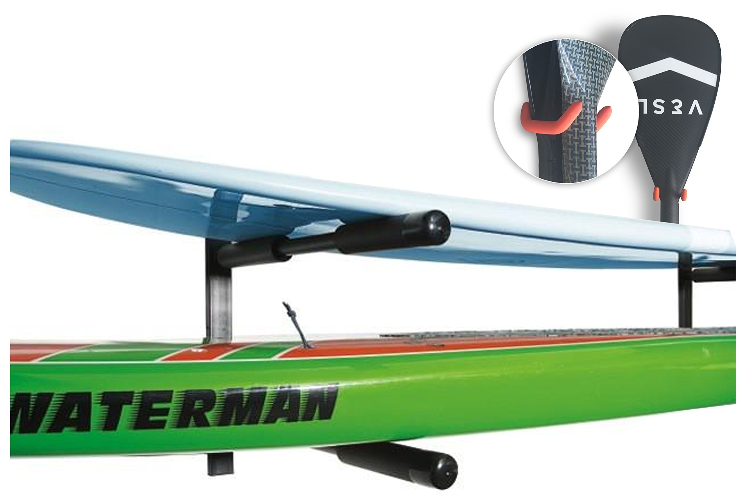 Cor Surf   2 Boards Double SUP   Surfboard   Paddle Board Wall Rack   Heavy Duty Mount   Free Paddle Hook Included