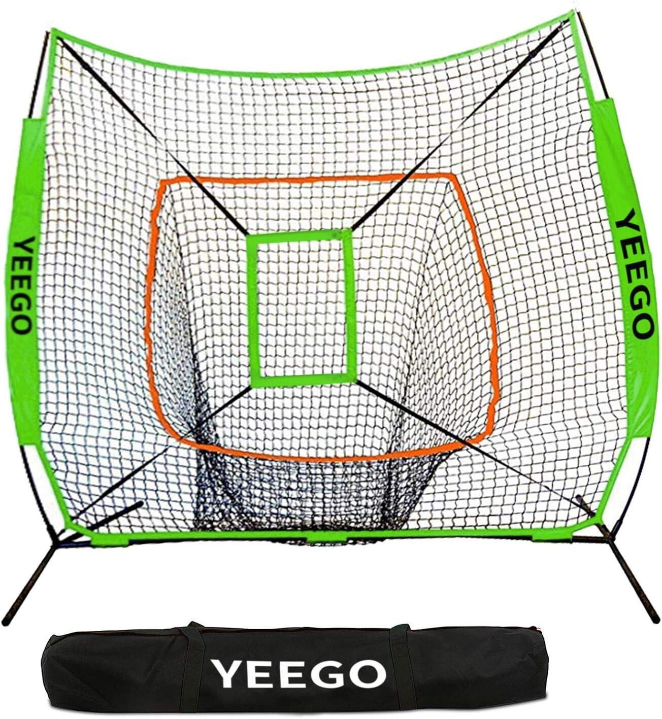 Baseball Softball Practice Net, YEEGO 7×7 Baseball Hitting Pitching Batting Cating Training Net with Carry Bag Bow Frame Bonus Strike Zone