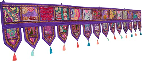 80 Cotton Ethnic Wall Hanging Christmas Decorative Home Decor Vintage Patchwork Door Topper Valances Window Indian Hand Embroidered Patchwork Toran Boho Bohemian Living Room Decor PURPLE
