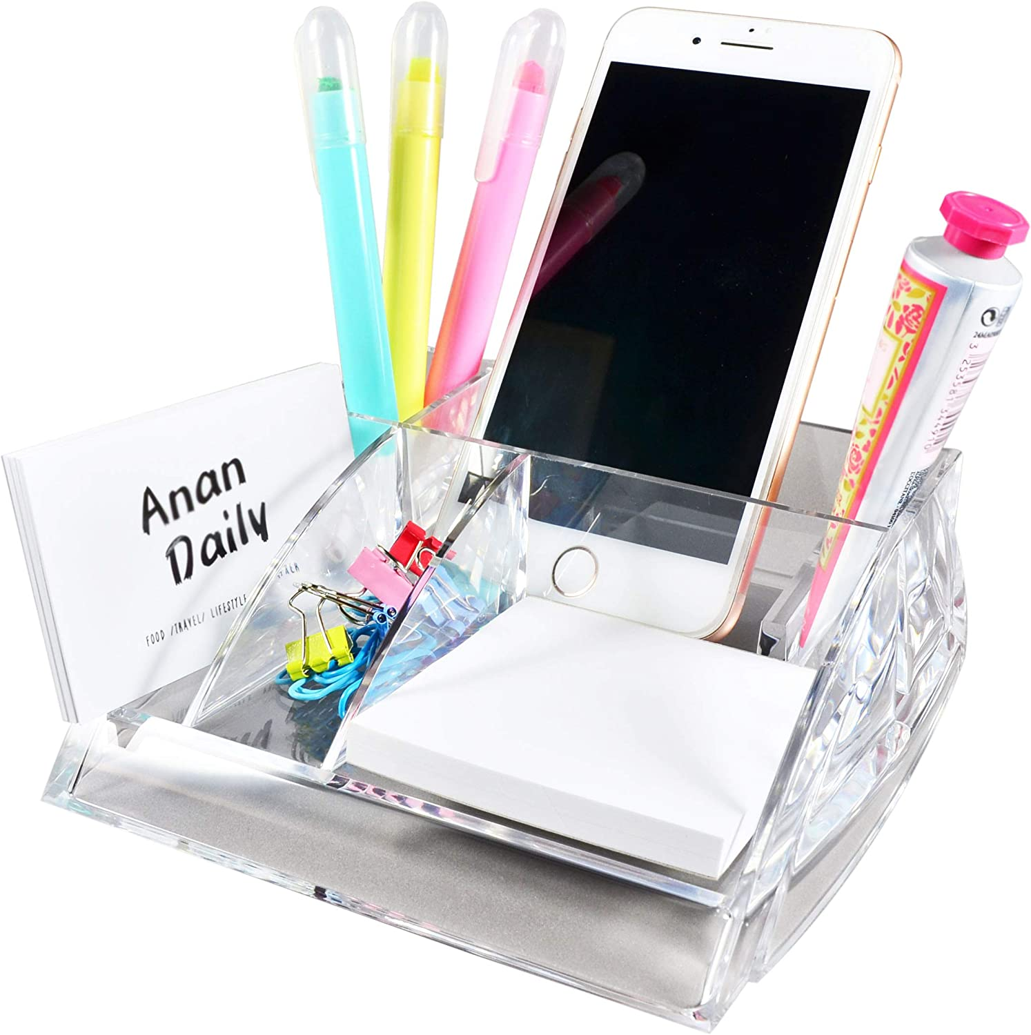 COM.TOP - Acrylic Desktop Supplies Organizer (Memo Note and Paper Clips Included) for 3 x 3 Memo, Clip Holder, Phone Holder, Business Card Holder | Office Supplies, Stationery Organizer for Desk