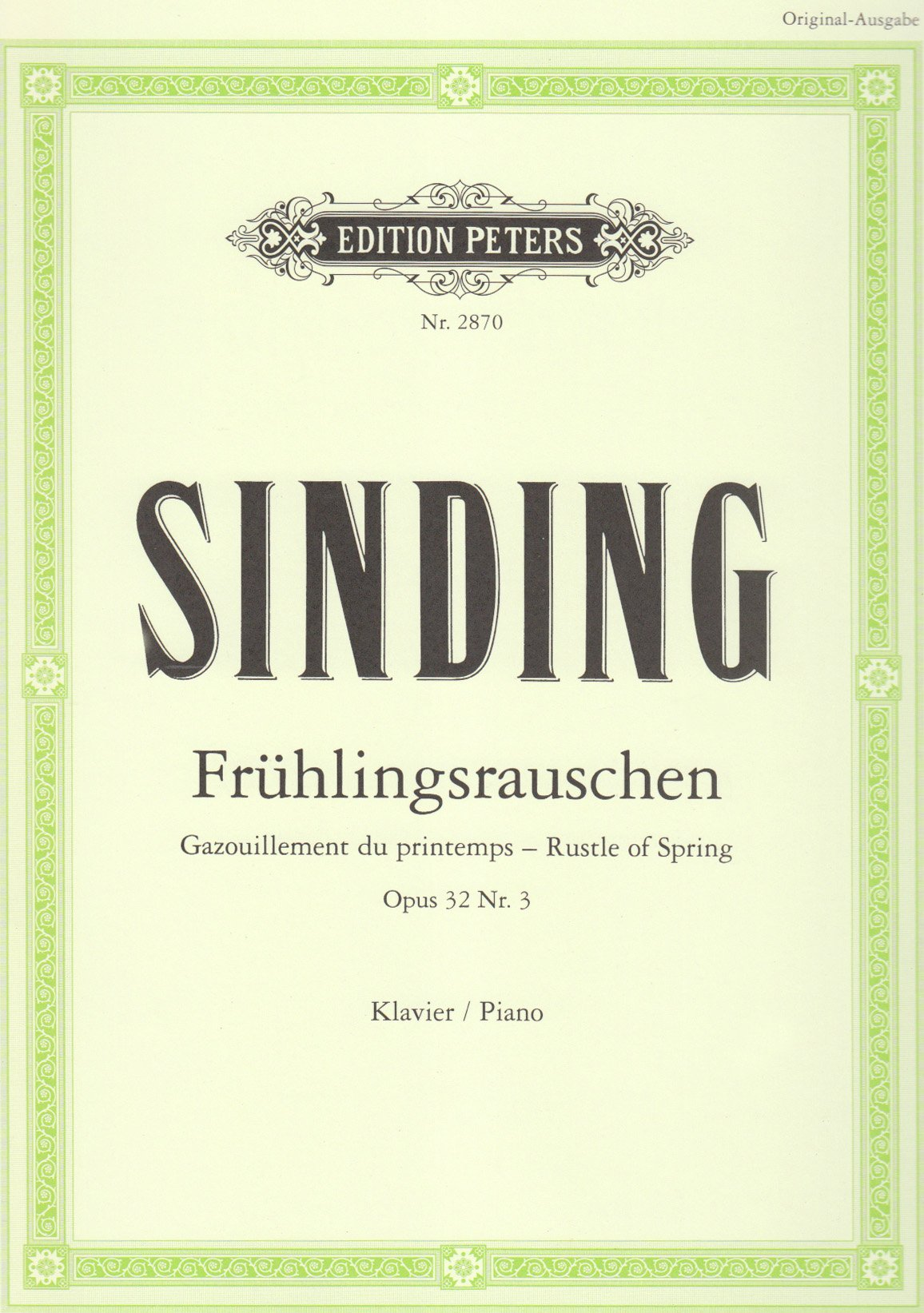 Frühlingsrauschen op. 32 Nr. 3: Gazouillement du printemps - Rustle of Spring. Klavier / Piano