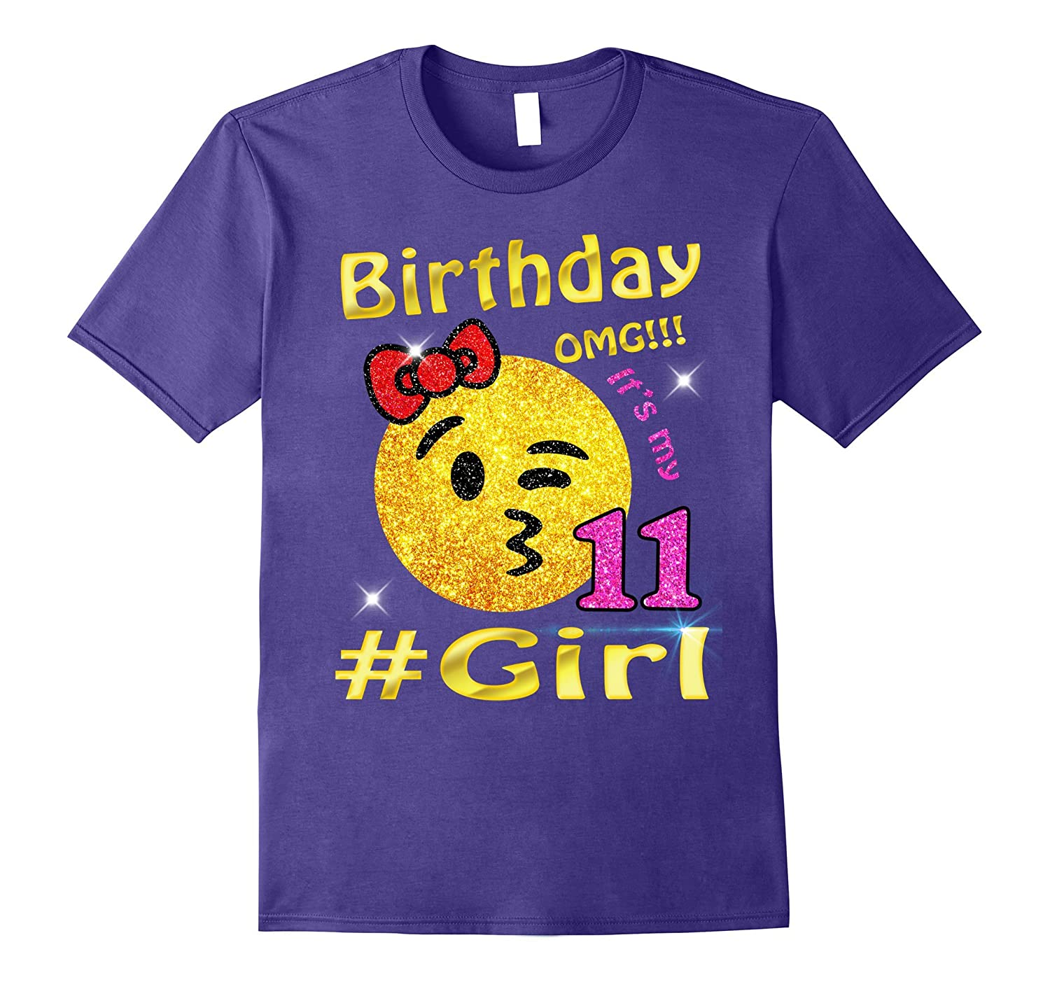 Emoji 11th Birthday Girl T-Shirt Cute Gifts for Party-T-Shirt