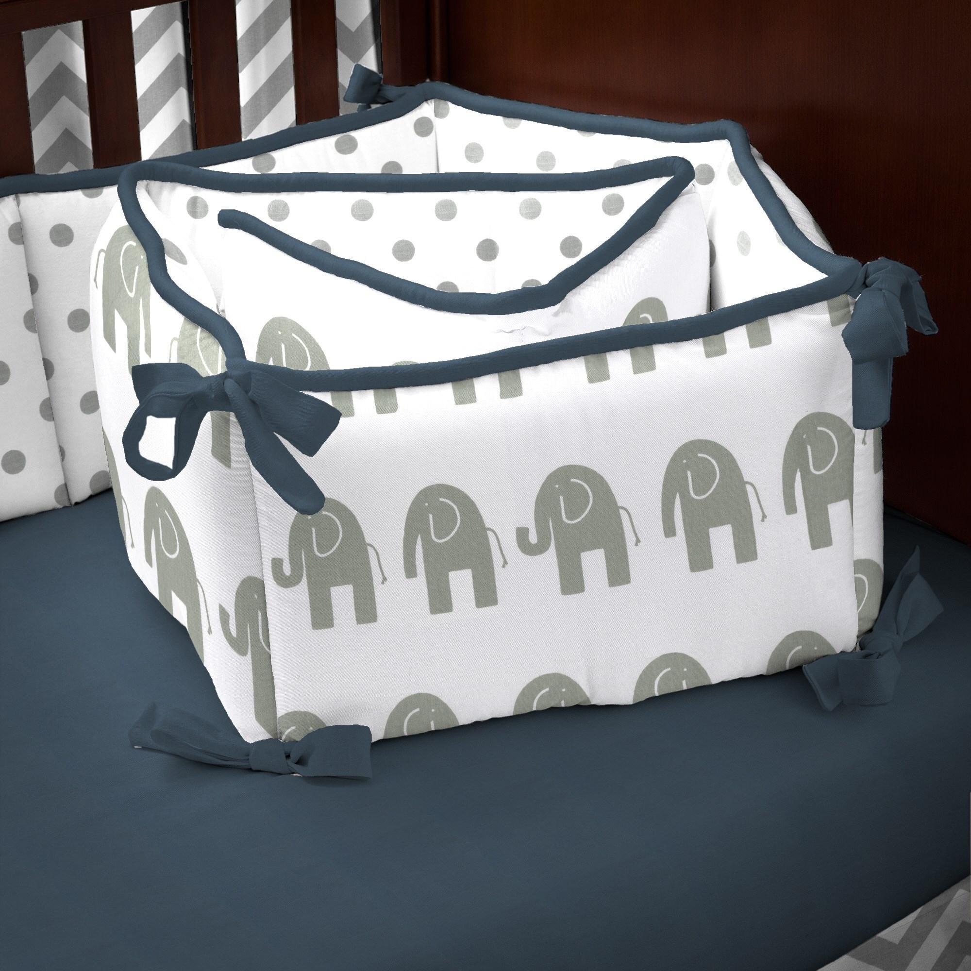 Carousel Designs Navy and Gray Elephants Crib Bumper